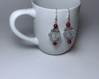 Red Earrings, Crystal Earrings