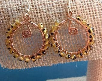 copper beaded earrings