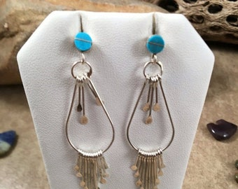 Spring Time Yet Vintage Zuni Turquoise and Sterling Silver Dangle Earrings