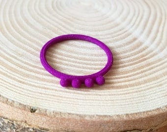 Strong and flexible plastic, purple ball ring, 3d printed stacking ring, modern  boho jewellery, Valentine gift