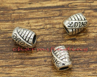 15pcs Love Tube Beads Large European Bead Spacers Antique Silver Tone Beads 10x9x11mm 4mm hole cf2431