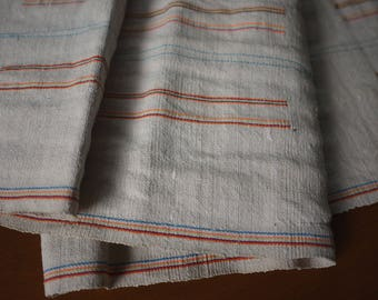 Natural striped recycled hemp/cotton (4.2m) - Vintage handwoven hemp cotton mix traditional striped pattern - recycled fabric from old skirt