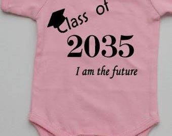 Class of 2035 baby onesies blue or pink