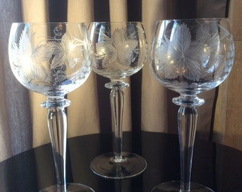 Tall Etched Vintage Wine Glasses, Set of 3