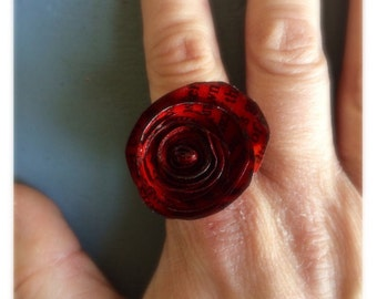 Handmade, bookpage flower ring.