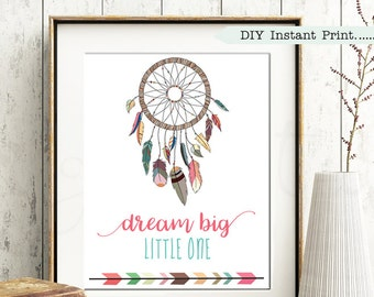 Nursery Print - Baby Gift   Tribal   Dreamcatcher   Baby Shower   Nursery Decor