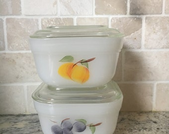 Vintage Fire King Refrigerator Dishes Hand Painted Fruit Gay Fad Set of 2