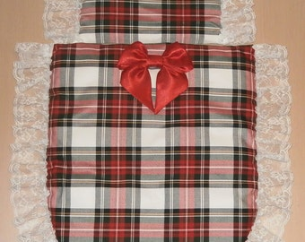 Stuart Tartan & White Lace with Red Satin Bow Moses Basket or Baby Pram Stroller Quilt Set