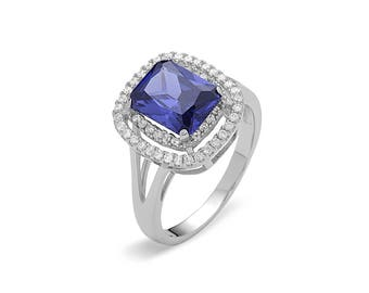 Rhodium plated Sterling Blue Spinel w/Cz vintage ring