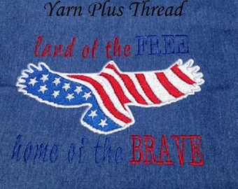 Land of the free, Home of the brave Embroidery Design