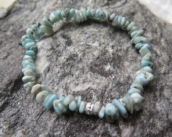 Larimar Bracelet Chips with 925 Silver Oriental Style
