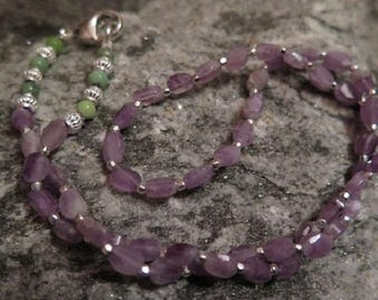 Fine Amethyste Necklace facetted with Chrysoprase and 925 Silver