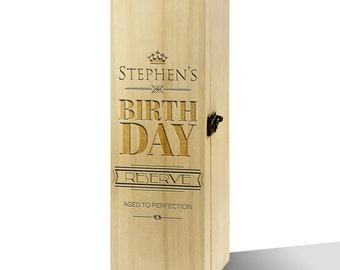 Personalised Birthday Reserve Plain Luxury Wooden Wine Box