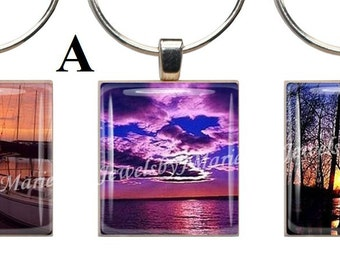 SUNSETS/SCENIC ~ Scrabble Tile Wine Glass Charms ~ Set of 3 Stemware Charms/Markers/Pendants ~ Toast Your Celebration with Style!