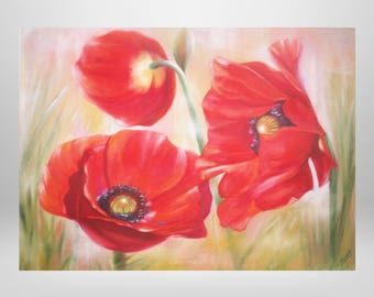 Poppies, flowers, oil painting, art print on canvas