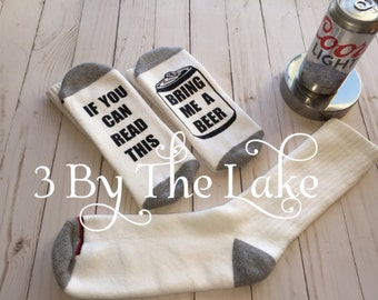 If You Can Read This, Bring Me Beer (Beer Can) Funny Men Socks