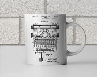 Sweeney Typewriter Patent Art Mug Gift, Typewriter Mug, Typewriter Gift, Novelist Gift, Author Gift, Journalist Gift, Reporter Gift