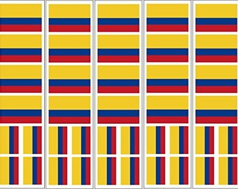 40 Removable Stickers: Colombia Flag, Colombian Party Favors, Decals