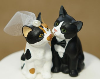 Cat wedding cake topper, custom handmade cat wedding cake topper, personalized cat wedding cake topper, cat wedding cake topper