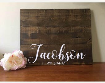 Wedding Guestbook/Alternative Guestbook/Wood Guestbook/Rustic Wood Guestbook/Rustic Wedding/Last Name and Established date guestbook/20x24