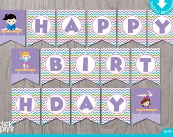 Gymnastic Party Banner Print Yourself, Gymnastic Birthday Decoration, Gymnastic Party Pennant DIY, Gymnastic Birthday, Instant Download