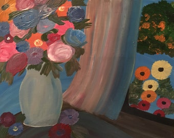 16x20 Stretched Canvas Painting!  Full of Flowers!