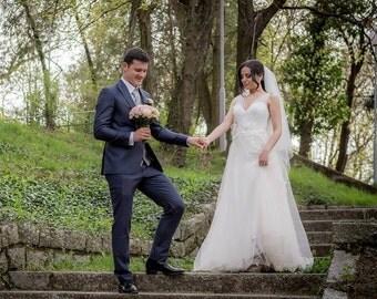 Wedding Dress/ A-Line V Neckline Tulle Satin Bridal Dress