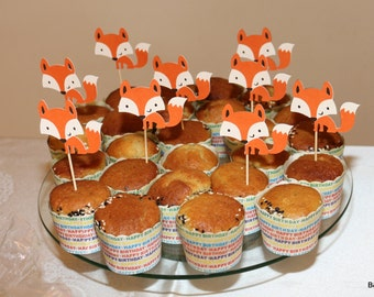 Woodland theme party, 12-piece fox,fawn and raccoon cutouts, birthday party,Cupcake topper