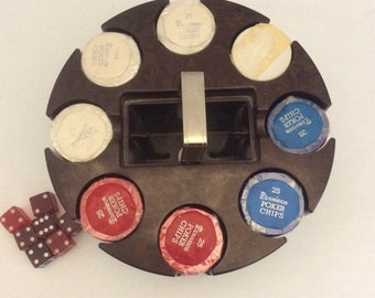 Vintage Dennison Plastic Poker Chip Rack with Chips and Dice