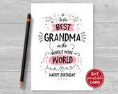 "Printable Birthday Card For Grandma - To The Best Grandma In The Whole World - Happy Birthday - 5""x7""- Includes Printable Envelope Template"