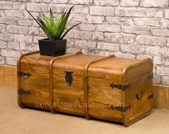 Solid Mango wood merchants chest / mariners trunk with iron detailing lockable - medium size 2 - MAR-109M