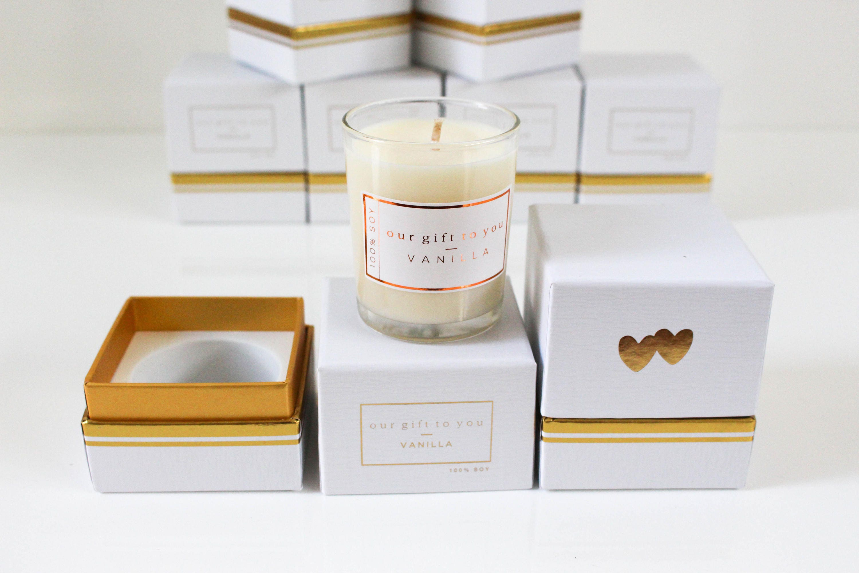Wedding Favour Soy Candle Gold White