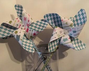 Blue Pinwheels, Party Pinwheels, Paper Pinwheels, Party Decorations, Blue Party Decor, Birthday party, Photo Props, Cake Topper