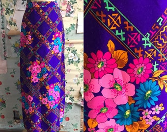 Vintage 1960s Alex Coleman Floral Purple Psychedelic Maxi Skirt. Small. Pink, orange, geometric.