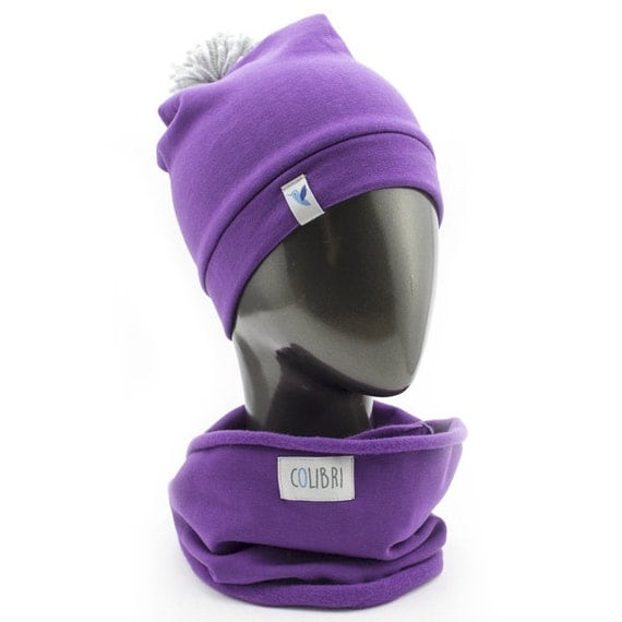 COLIBRI set, baby, toddler sloushy beannie with pompom and infinity scarf