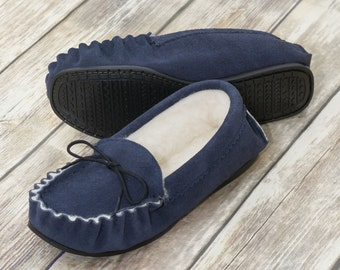 British Suede and Lambswool Handmade Moccasin Slippers in Navy Suede