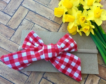 Red Gingham Bow - Picnic Blanket Bow - Spring Bow - Red and White Check Bow - Gingham Bow