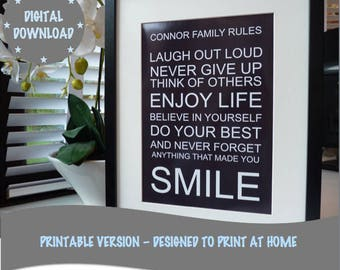 Personalised Printable Family Rules print, Print Your Own Family Rules, Printable Word Art Print, *DIGITAL DOWNLOAD ONLY*