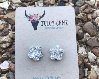 flower drusy, flower earrings, druzy, druzy earrings, drusy earrings