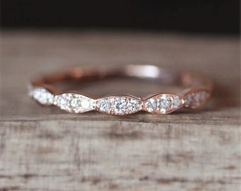 Vintage Half Eternity Diamonds Ring Art Deco Wedding Ring Stackable Match Ring 14K Rose Gold Ring Bridal Ring Promise Ring Engagement Band