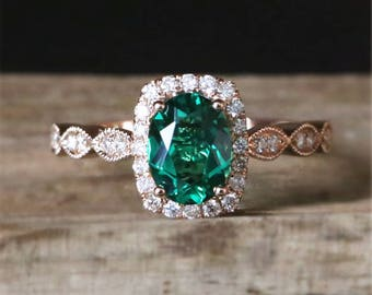 Art Deco Emerald Engagement Ring Lab Created 6*8mm Oval Cut Emerald Ring Vintage Gemstone Ring Stackable Ring 14K Rose Gold Engagement Ring