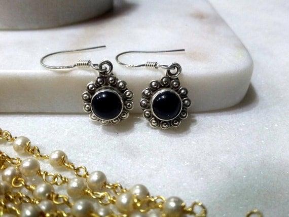 Black Onyx Earrings - Sterling Silver Earrings - Black Earrings - Black Gemstone Earrings - Onyx Earrings- Onyx Jewelry
