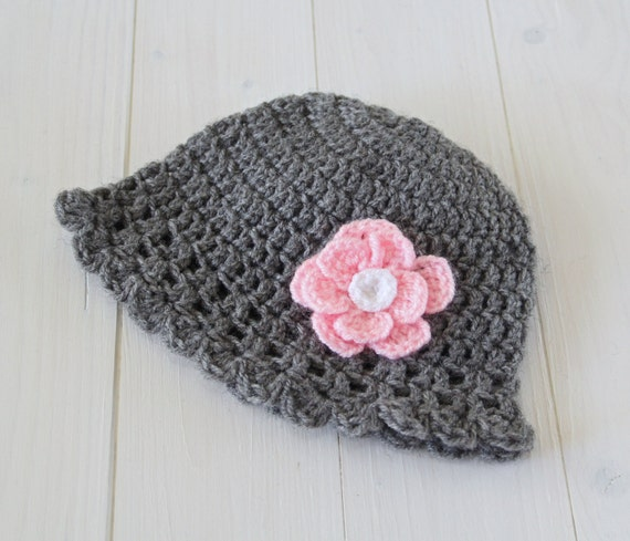 Hat, Baby hat, Baby girls hat, Hat for baby girls. Grey hat. Hat with flower. Baby gift. Gift for baby girl. Photo prop. Ready to ship.