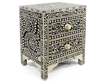 Bone Inlay Floral Bedside Table / Nightstand/ Bedroom Furniture