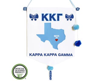 Kappa Kappa Gamma Pennant Flag - Sorority Gift - Big Little Reveal - Bid Day Gift - Greek Gift - Greek Letters - Big Lil - Custom Sorority