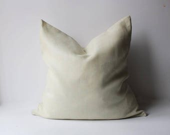 Greenish Light Yellow Pillow, Linen Pillow Cover, Yellow Linen Pillow cover, Vanilla Yellow Pillow Cover, Light yellow Linen Pillow