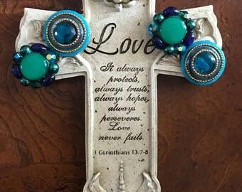 Ovarian cancer awareness jeweled cross