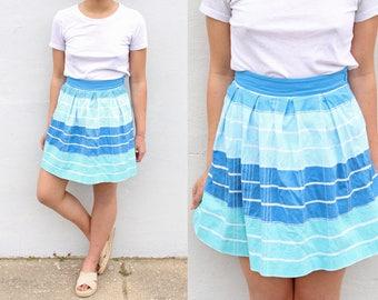 School Girl Ombre Blue Pleated Skirt Mini Skirt Skater Skirt