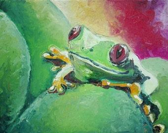 Ölbild nur mit den Fingern gemalt. Ohne Pinsel. Frosch auf 40x50cm