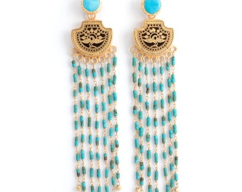 Chandelier Turquoise Earrings - Boho Earrings - Chandelier Earrings - Long Earrings - Turquoise Earrings